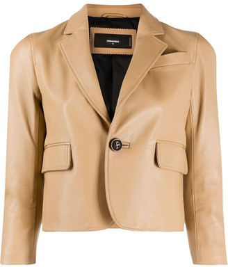 DSQUARED2 Cropped Leather Blazer