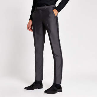River Island Grey tonic skinny suit trousers