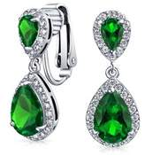 Bling Jewelry Crown Set Simulated Emerald Cz Double Teardrop Bridal Clip On Earrings Rhodium Plated Brass.