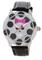 Betsey Johnson Women's Bow Skull Crystal Croc Embossed Leather Watch