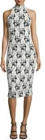 Cushnie et Ochs Halter-Neck Cable-Print Midi Dress, Black/White/Multi