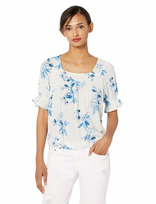 Lucky Brand Women's Square Neck Floral Smocked TOP