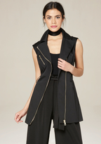 Bebe Sleeveless Moto Trench Coat