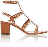Valentino Women's Rockstud Triple-Strap Sandals-BROWN