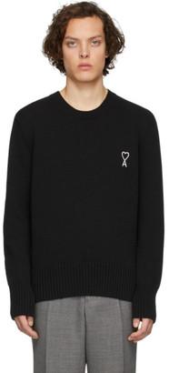 Ami Alexandre Mattiussi Black Embroidered Ami De Coeur Sweater