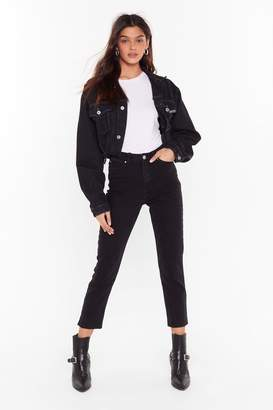 Nasty Gal Womens Cut Off Point Mom Jeans - black - 14