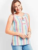 Talbots Trapunto Stitch Shell-Rainbow Stripe