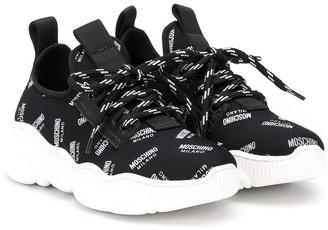 MOSCHINO BAMBINO All-Over Logo Sneakers