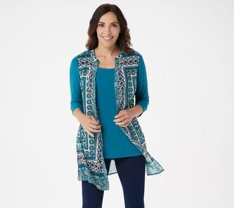 Susan Graver Petite Printed Sheer Chiffon Button Front Vest Set