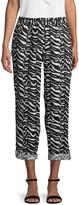 Calvin Klein Collection Zebra-Print Linen Tab-Cuff Pants