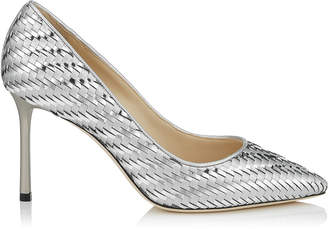 Jimmy Choo ROMY 85 Silver Woven Metallic Fabric Mesh Pointy Toe Pump