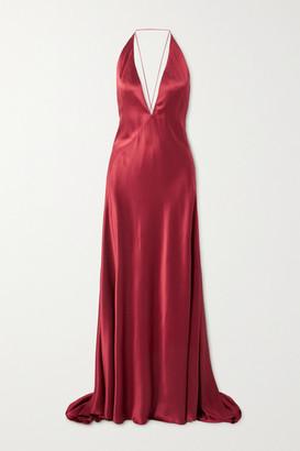 Michael Lo Sordo Alexandra Open-back Silk-satin Gown - Red