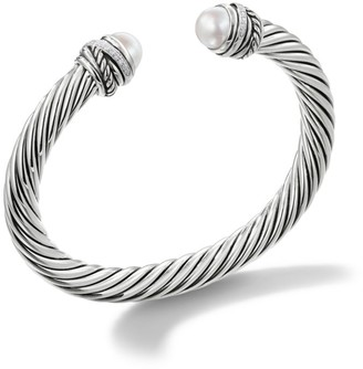 David Yurman Cable Classic Crossover Bracelet with Pearls and Diamonds/7mm