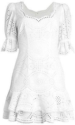 Jonathan Simkhai Meg Broderie Puff-Sleeve Mini Dress