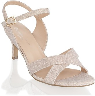 Linzi Paradox London Haniya Champagne Extra Wide Fit Mid Heel Ankle Strap Sandals