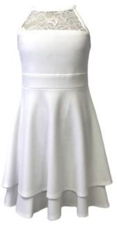 Emerald Sundae Big Girls Lace Detail Double Skirt Dress