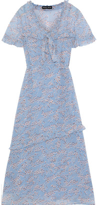 Markus Lupfer Ellie Bow-detailed Floral-print Georgette Midi Dress