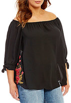 Moa Moa Plus Embroidered Off The Shoulder Tie Sleeve Top