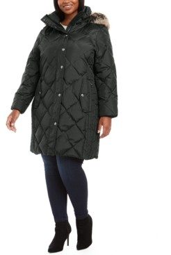 London Fog Plus Size Diamond-Quilted Hooded Puffer Coat With Faux-Fur Trim