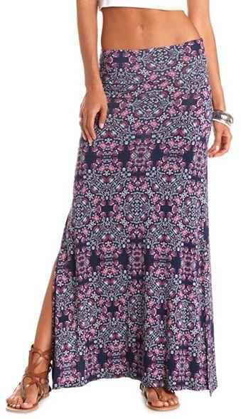 Charlotte Russe Folk Print Double Slit Maxi Skirt