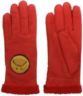 Agnelle Navy Suede Smiley Face Gloves