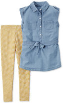 Carter's 2-Pc. Chambray Tunic and Geo-Print Leggings Set, Little Girls (2-6X) and Big Girls (7-16)