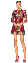 Dolce & Gabbana Floral Jacquard Embellished Mini Dress in Floral,Red.