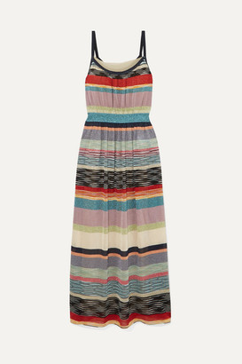 Missoni Striped Metallic Crochet-knit Midi Dress - Blue