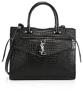 Saint Laurent Women's Medium Uptown Cabas Crocodile-Embossed Leather Top Handle Bag