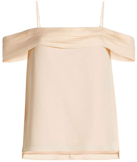 Alexander Wang Silk Top with Cold Shoulder Sleeves