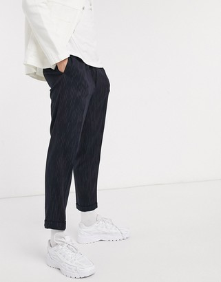 ASOS DESIGN tapered smart trousers in navy stripe with turn up