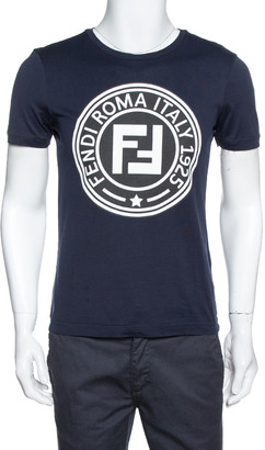Fendi Navy Blue FF Logo Print Cotton Crew Neck T-Shirt S