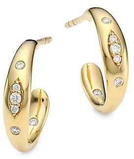 Tamara Comolli Gypsy 18K Yellow Gold & Pave Diamond Small Hoop Earrings
