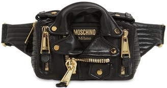 Moschino Biker Jacket Leather Belt Bag