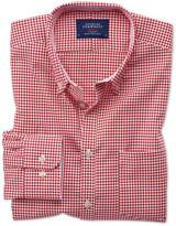 Classic Fit Button-down Non-iron Oxford Gingham Red Cotton Shirt Single Cuff Size Large By Charles Tyrwhitt