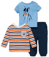 Little Me Baby Boys Three-Piece Dog Tee and Pants Set