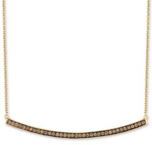"LeVian Le Vian Chocolatier Curved Bar 16"" Pendant Necklace (1/3 ct. t.w.) in 14k Gold"