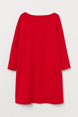 H&M Boat-neck Jersey Dress - Red
