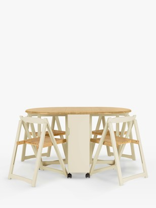 John Lewis & Partners Adler Butterfly Drop Leaf Folding Dining Table and Four Chairs