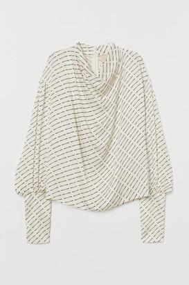 H&M Balloon-sleeved Blouse - White