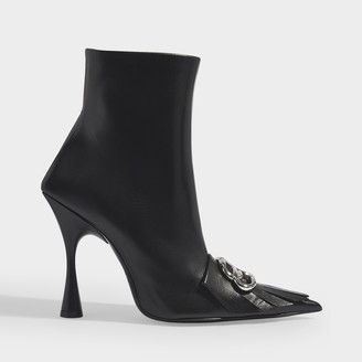 Balenciaga Fringe Knife 110 Ankle Boots In Black Leather