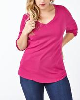Penningtons Shaped Fit 3/4 Sleeve V-Neck T-Shirt