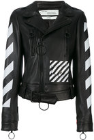 Off-White diagonals jacket - women - Lamb Skin/Viscose - 40