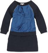 Chloé Raglan Ruffle-Front Dress, Dark Ink, Girls' 6-10