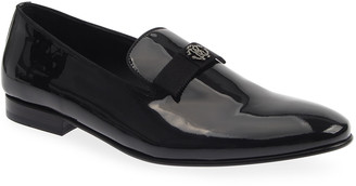 Roberto Cavalli Men's Patent Leather Bow/Logo Ornament Loafers
