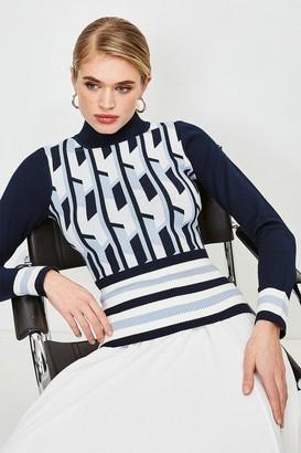 Karen Millen Geo Stripe Knit Jumper