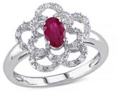 Concerto .167 CT Diamond TW and Ruby 14k White Gold Fashion Ring