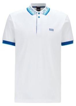 HUGO BOSS Cotton-pique polo shirt with space-dye collar