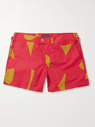 Tom Ford Slim-Fit Short-Length Printed Swim Shorts - Men - Red