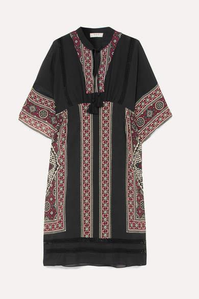Sea Ezri Crochet-trimmed Printed Crepe De Chine Dress - Burgundy